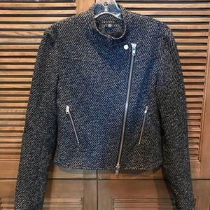 Theory Kinde Cropped Tweed Motorcycle Jacket sz. 4